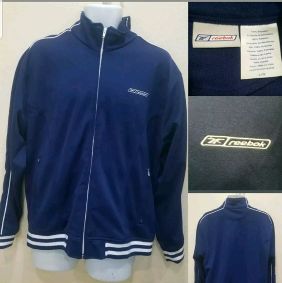 920a1b3dbe23f Vintage Reebok Full Zip Men Track Jacket Navy Blue